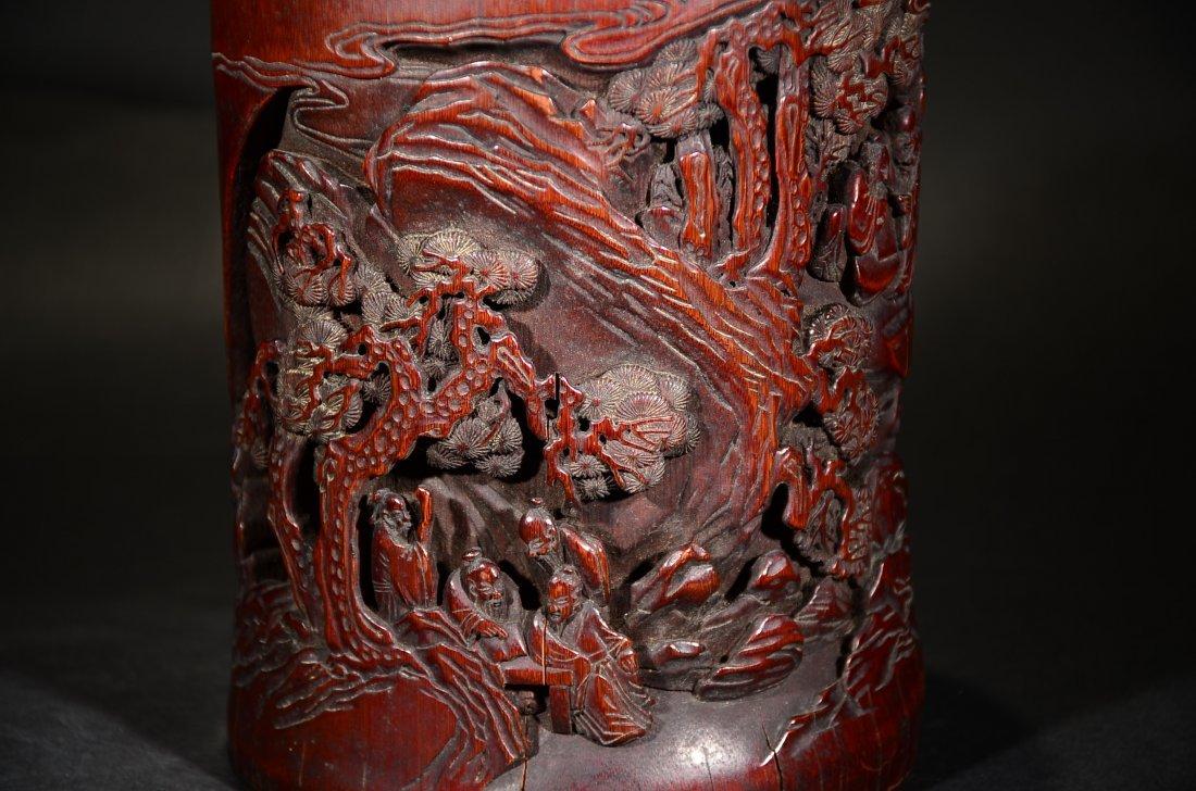 GU YU MARK, A CARVED BAMBOO FIGURAL BRUSHPOT - 8