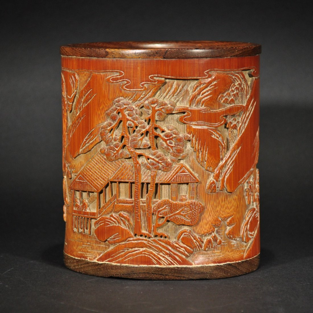 QING D. A CARVED LANDSCAPE BAMBOO BRUSHPOT
