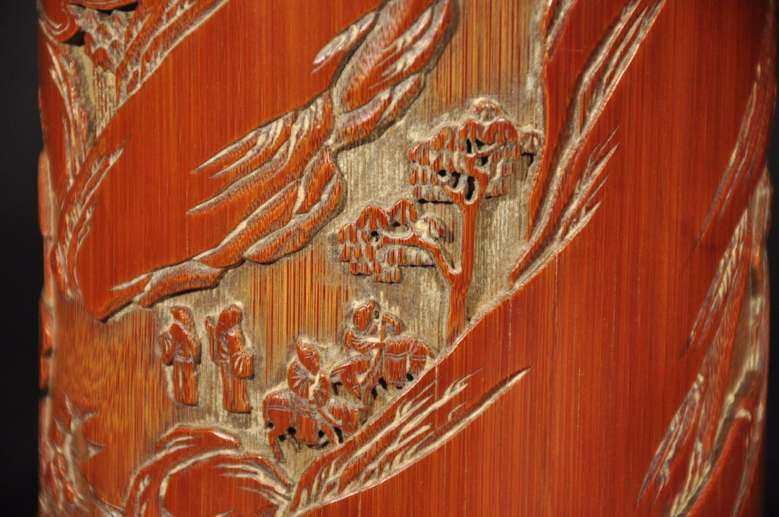 QING D. A CARVED LANDSCAPE BAMBOO BRUSHPOT - 4
