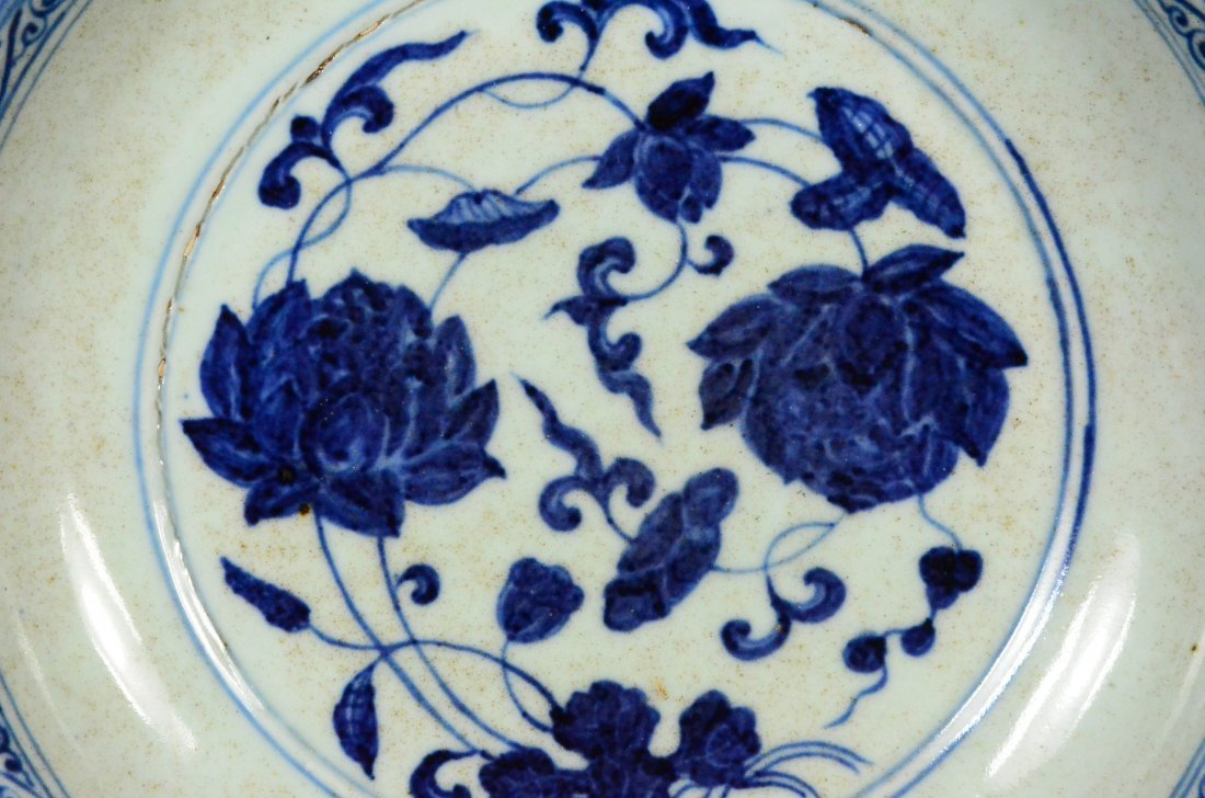 XUANDE MARK, A BLUE AND WHITE LOTUS DISH - 3