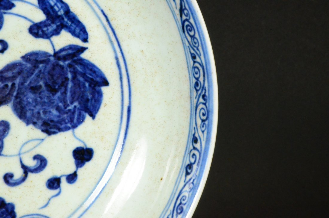 XUANDE MARK, A BLUE AND WHITE LOTUS DISH - 5