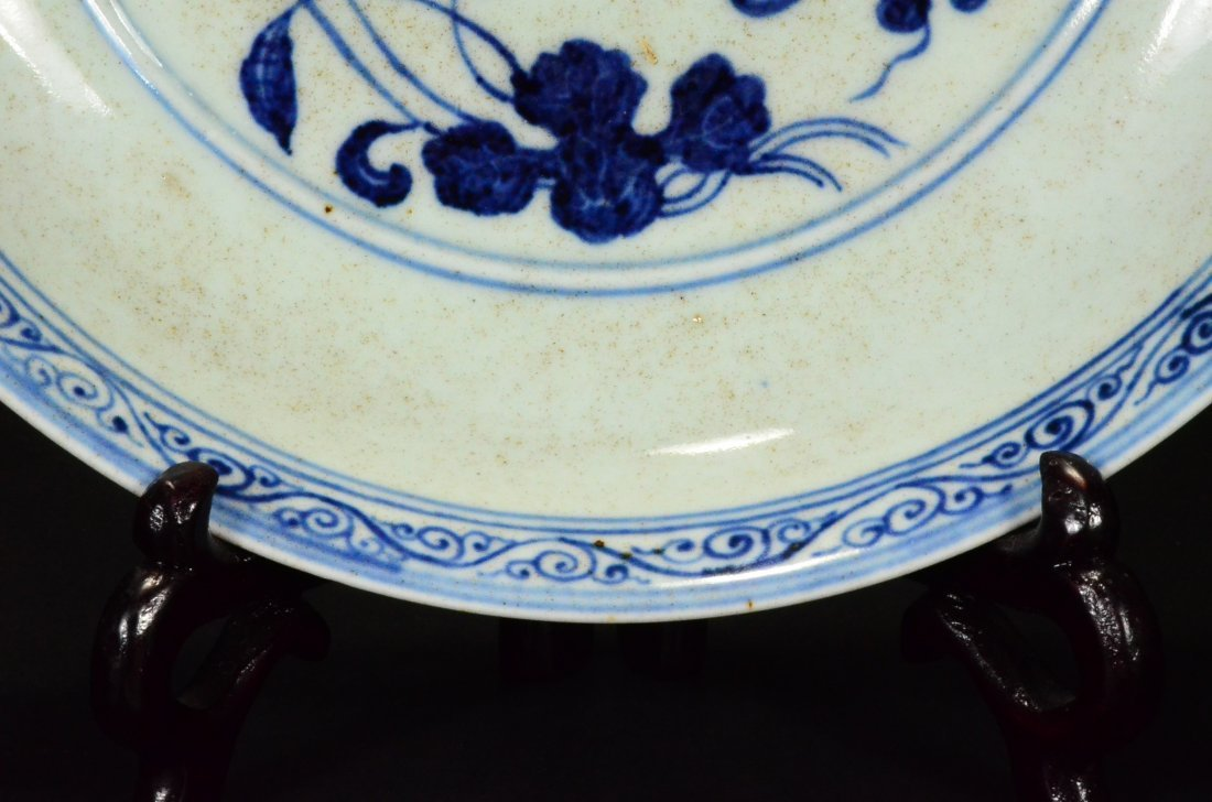 XUANDE MARK, A BLUE AND WHITE LOTUS DISH - 7