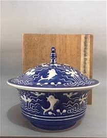 YONGZHENG MARK, A BLUE GROUND BOWL WITH LID