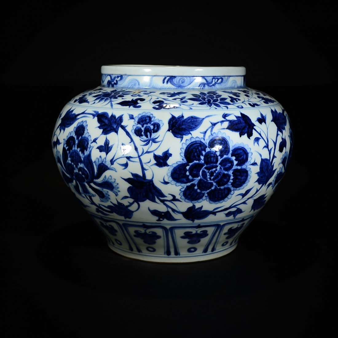 YUAN STYLE, A BLUE AND WHITE FLORAL JAR