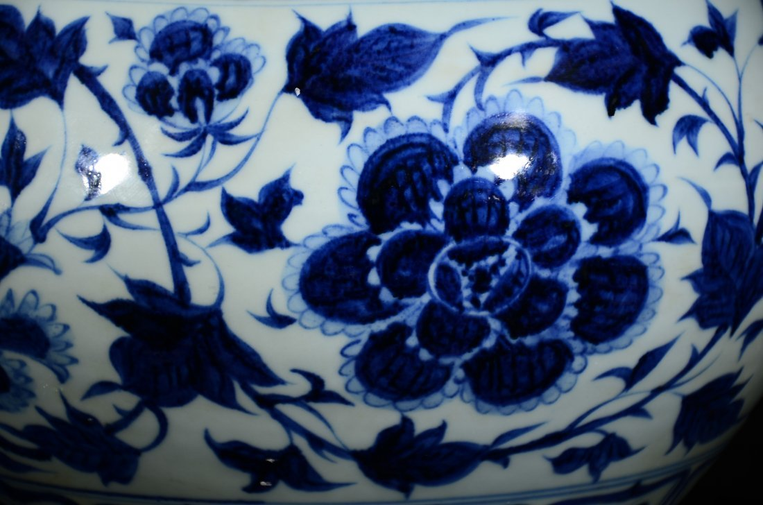 YUAN STYLE, A BLUE AND WHITE FLORAL JAR - 2