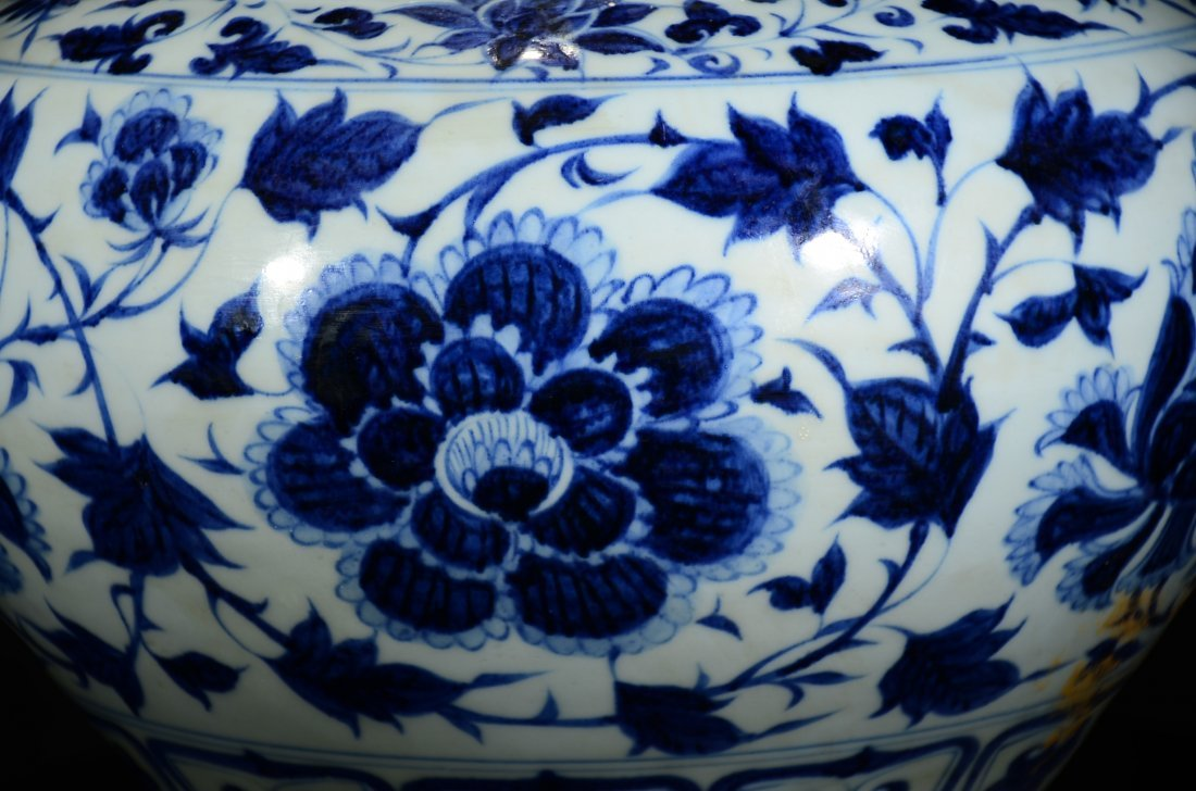 YUAN STYLE, A BLUE AND WHITE FLORAL JAR - 4