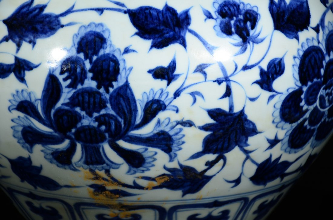 YUAN STYLE, A BLUE AND WHITE FLORAL JAR - 5
