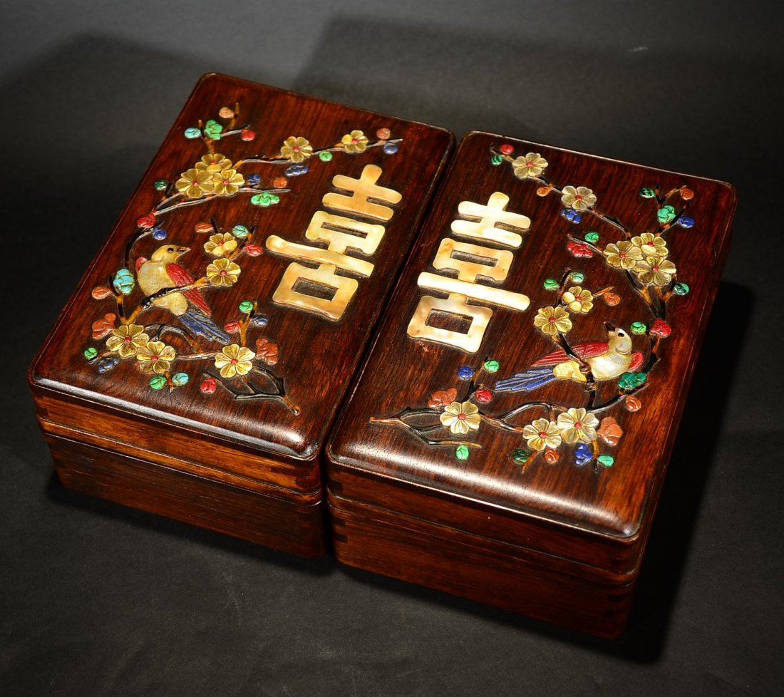 A PAIR OF HAINAN ROSEWOOD SQUARE BOXES
