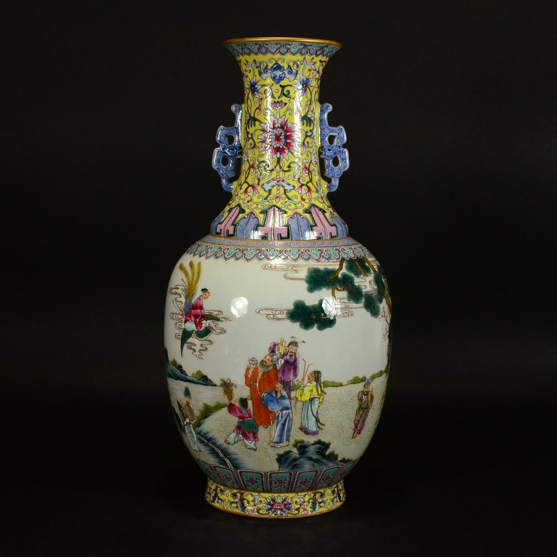 QIANLONG MARK, A FAMILLE ROSE VASE WITH HANDLES
