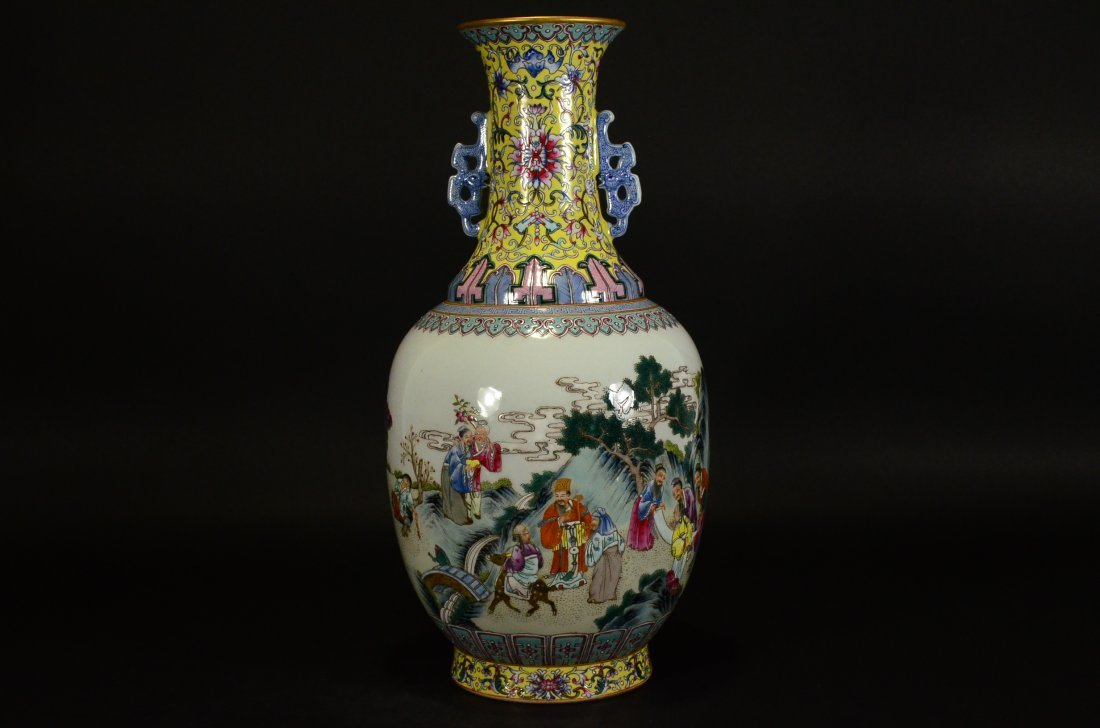 QIANLONG MARK, A FAMILLE ROSE VASE WITH HANDLES - 3