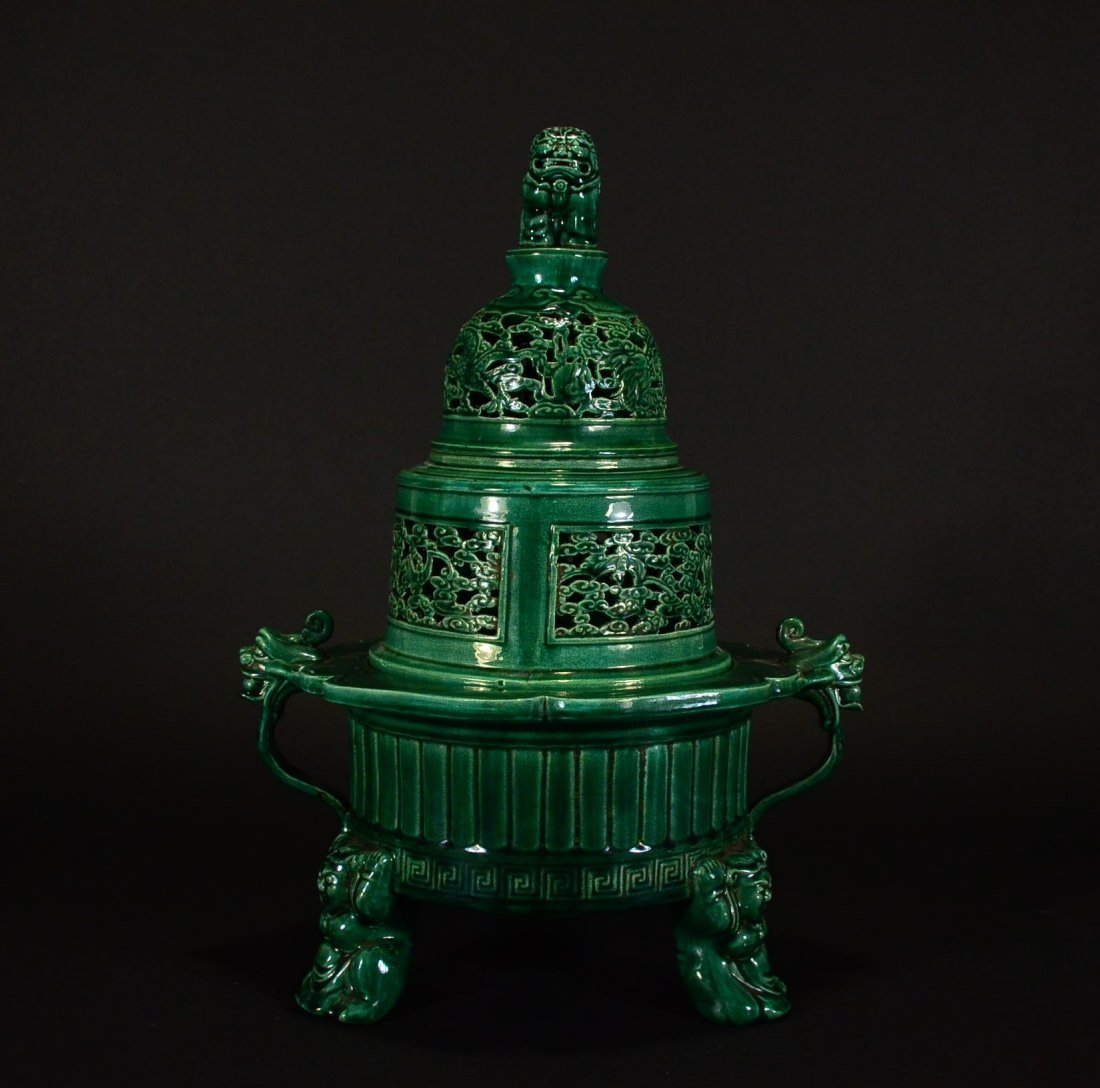 DAOGUANG MARK, A GREEN GLAZED CENSER WITH BEAST