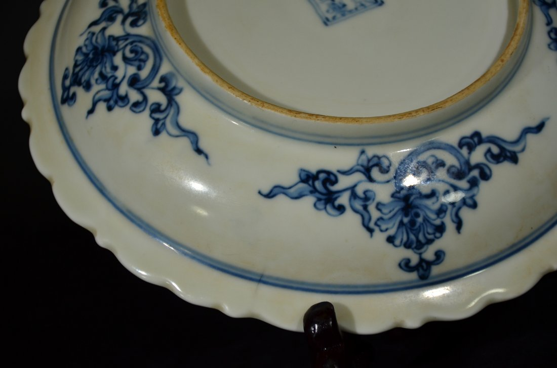 A BLUE AND WHITE DISH - 10