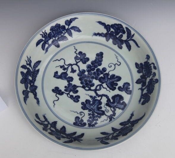 XUANDE MARK, A BIG BLUE AND WHITE DISH