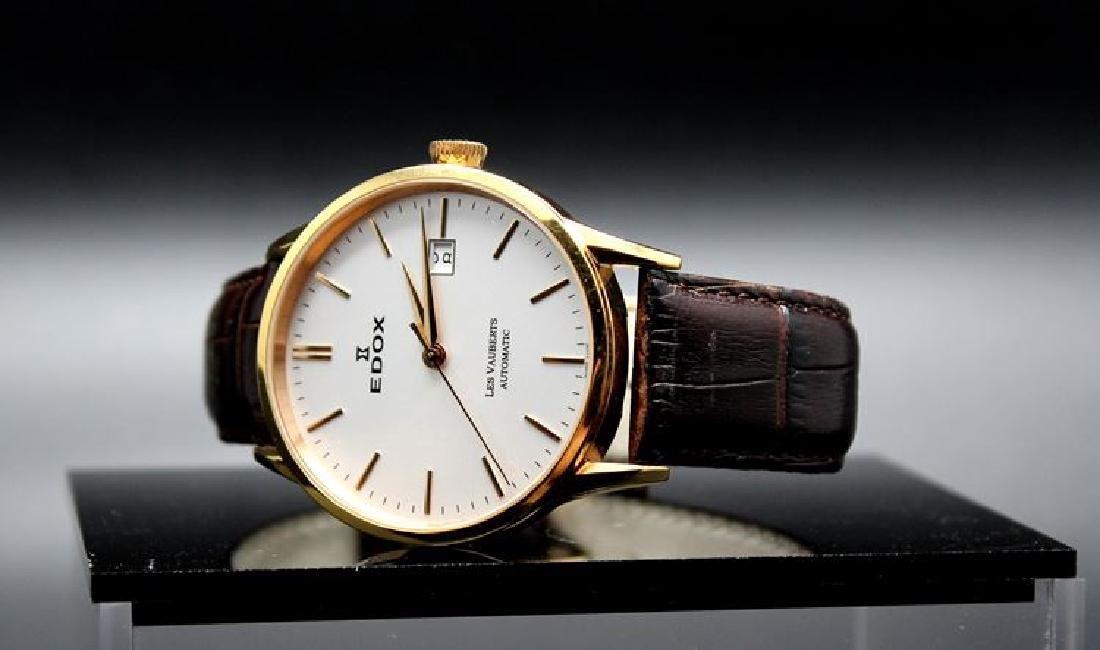A gent's Edox les Vauberts wrist watch. gold plated