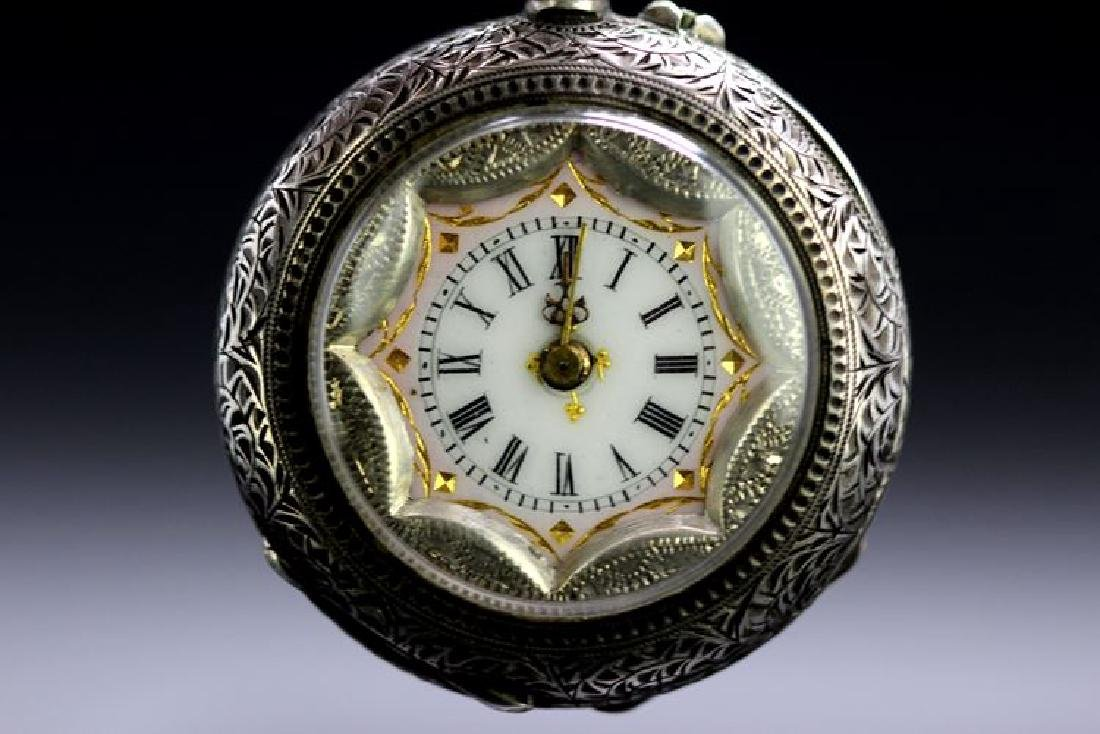A gent`s open face silver pocket watch. White metal