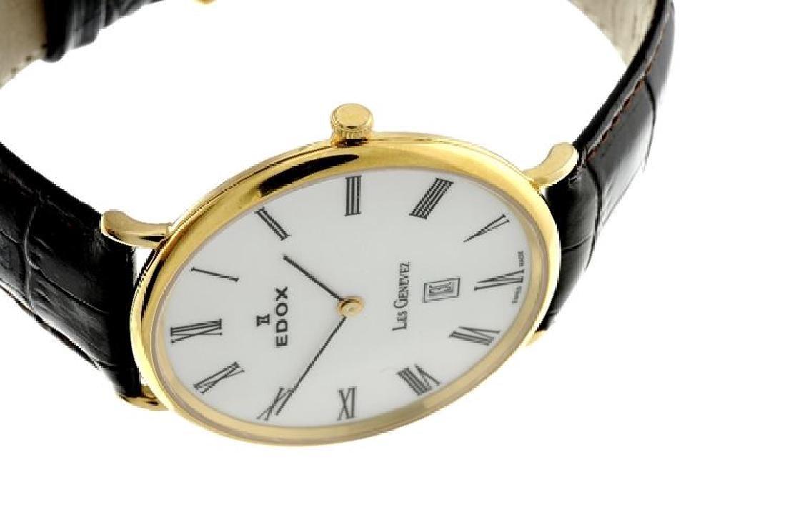 A gent's Edox Les Genevez ultra slim wrist gold plated