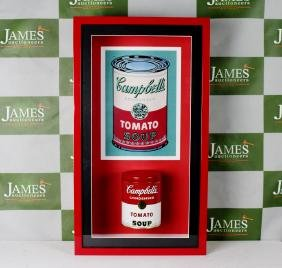 An original Campbells soup tin in case, Andy Warhol