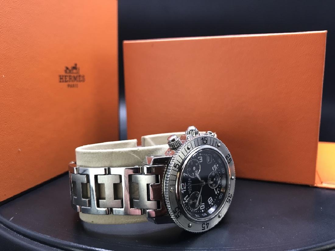 HERMÈS - a lady's Clipper chronograph bracelet
