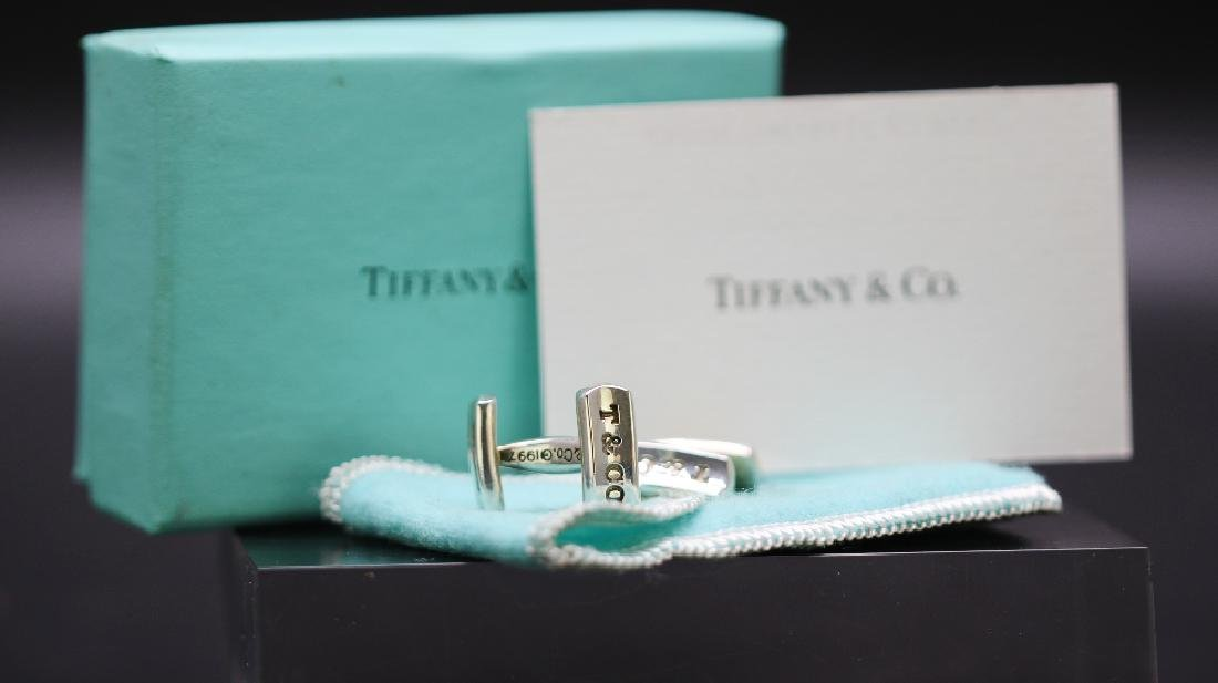 A pair of hallmarked silver Tiffany & Co cufflinks RRP