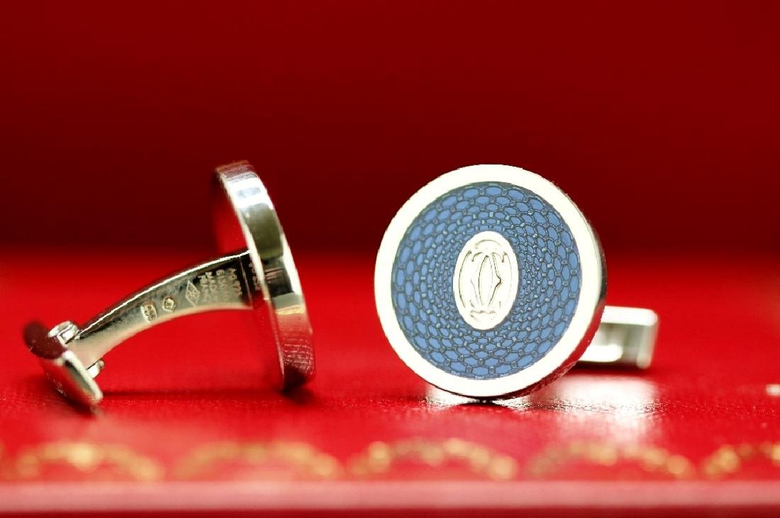 Pair of Cartier cufflinks-double C logo, rose decor