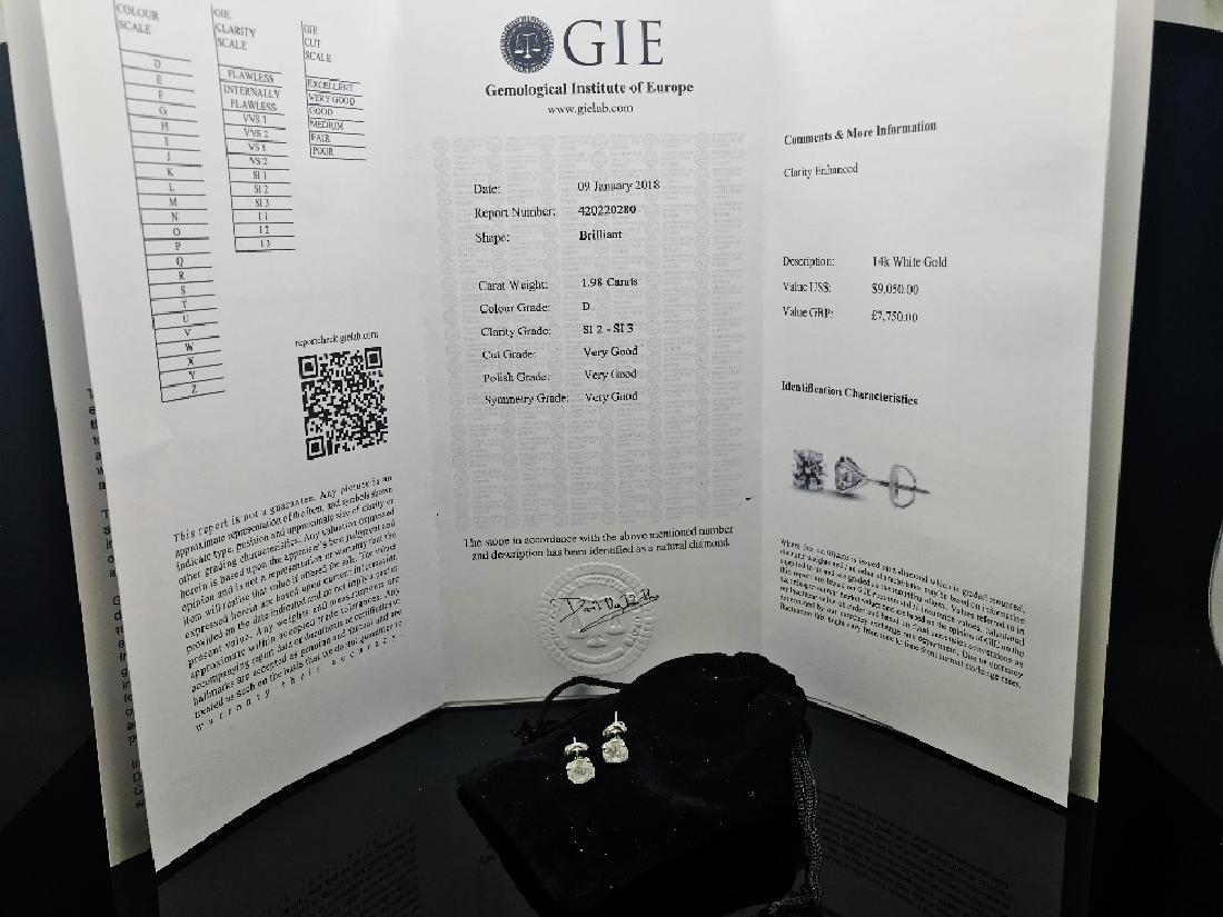 A pair of new genuine diamond 2ct earrings,certified & - 3