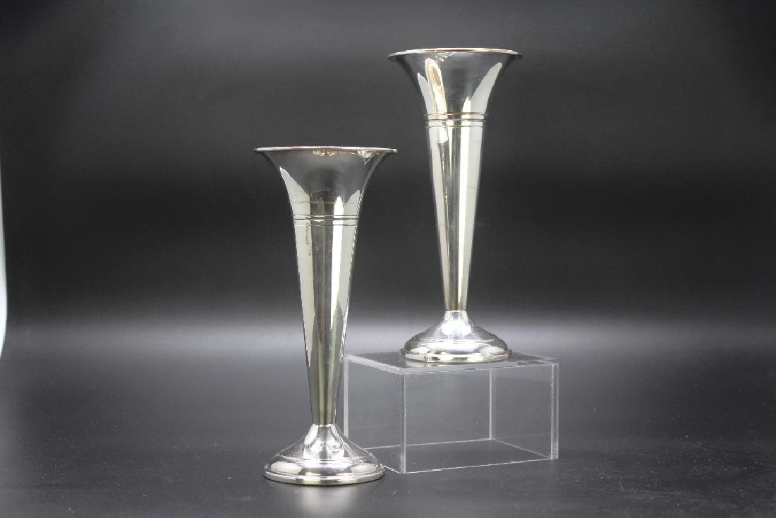 A Pair of Silver Plated Vases