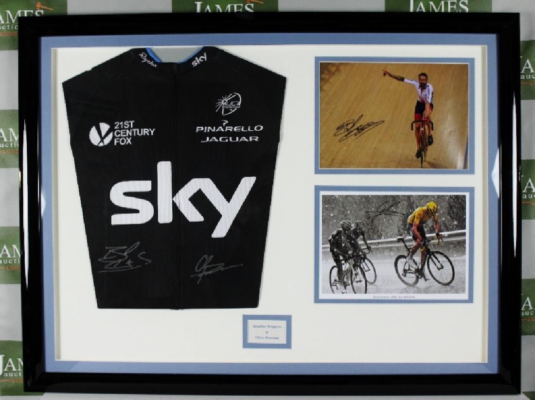 Sir Bradley Wiggins & Chris Froome signed Sky jersey &