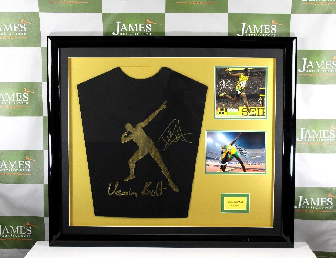 Olympic superstar Usain Bolt signed jersey montage
