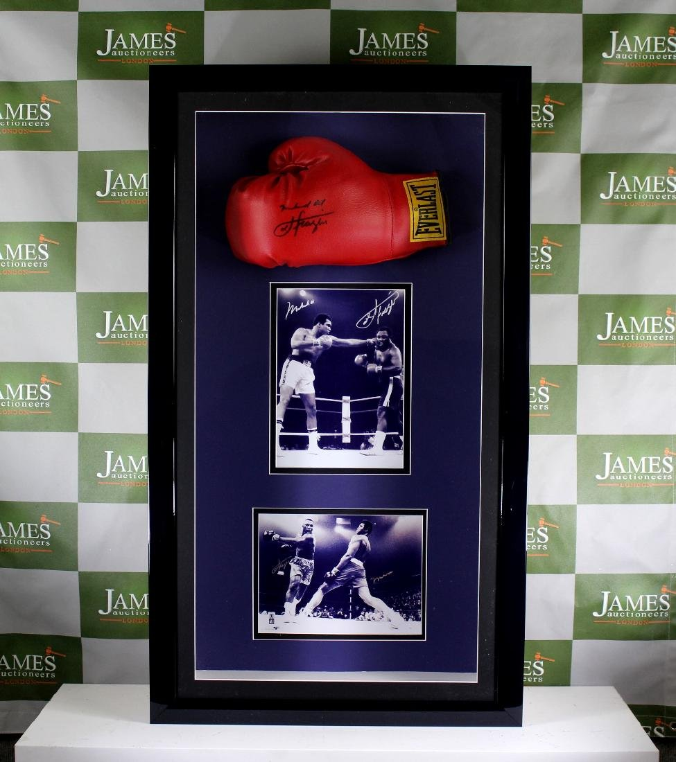 A Muhammad Ali & Joe Frazier signed glove & picture