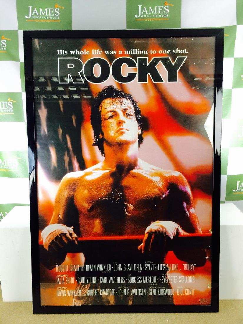"A full length ""Rocky"" film promo framed In a black"