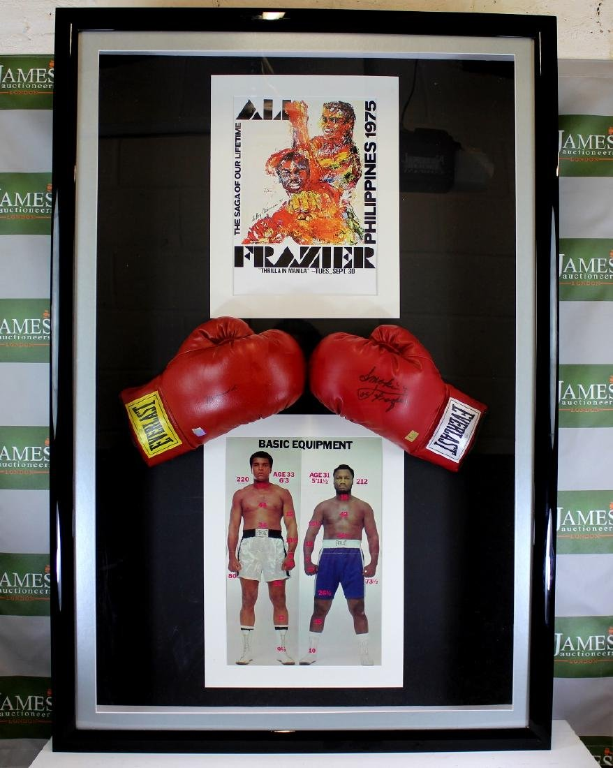 A signed Muhammad Ali & Joe Frazier gloves & original