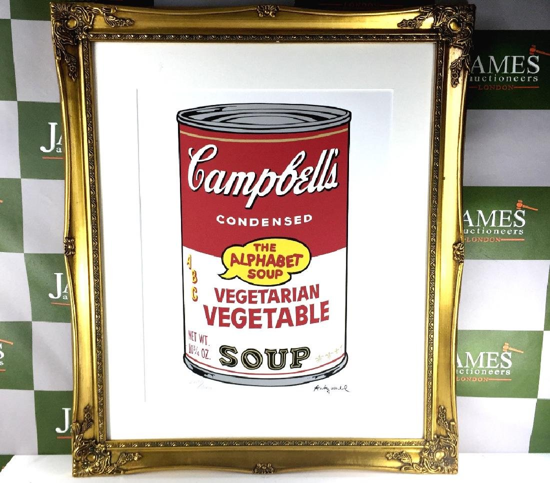 "Large 28 x 24 Andy Warhol - ""Campbell Soup"" lithograph,"