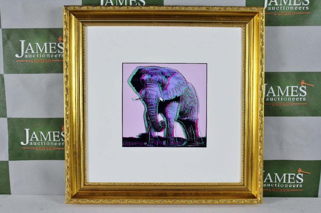 "Andy Warhol ""The Elephant "" ornate framed 20 x 20 inch,"