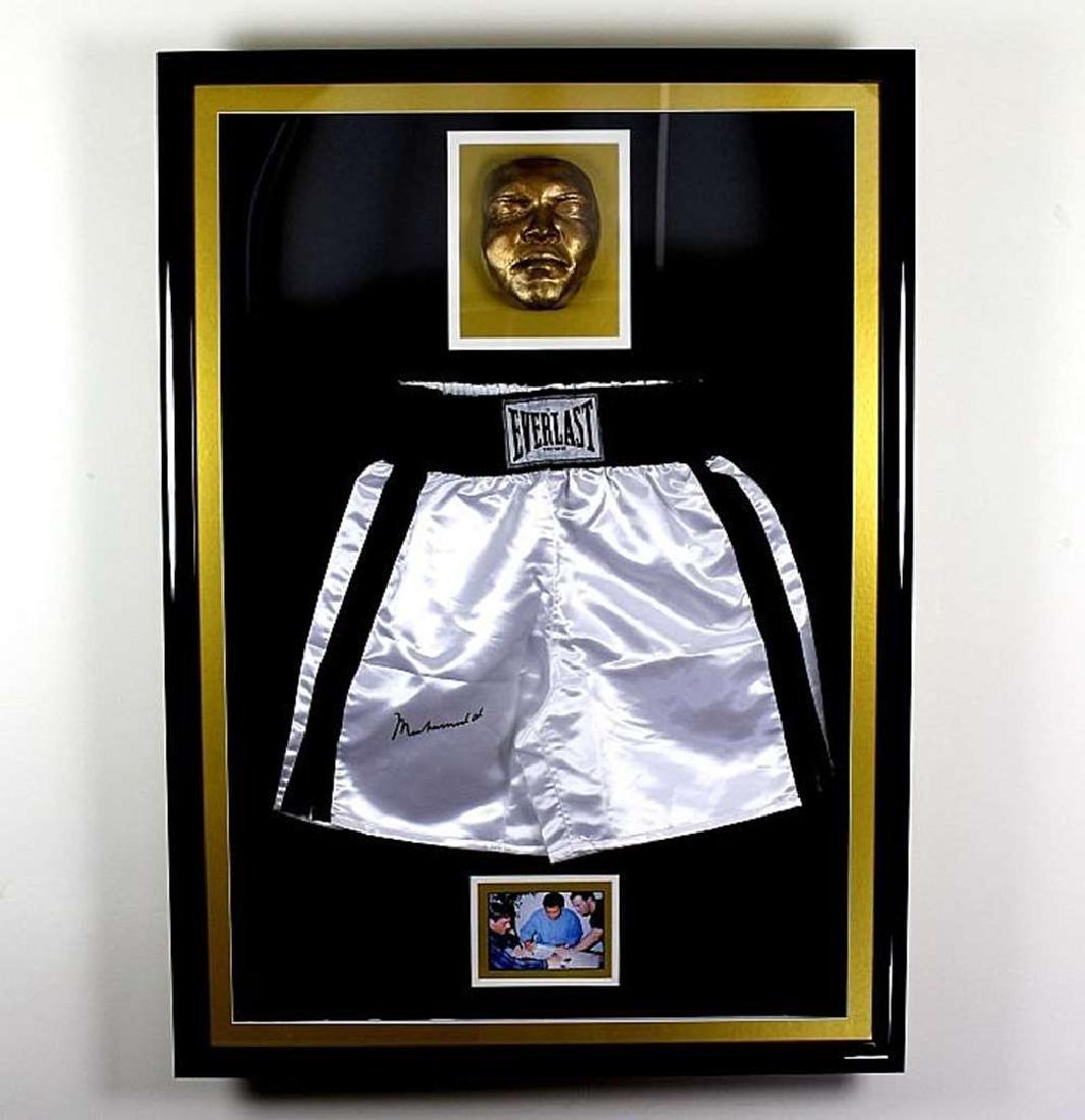 Muhammed Ali signed Everlast shorts display, Gold Face