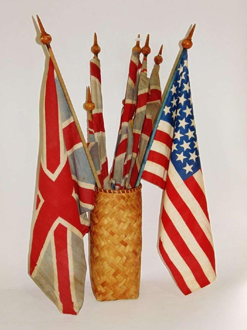 Vintage Flags, Union Jacks & USA flag with 45 stars
