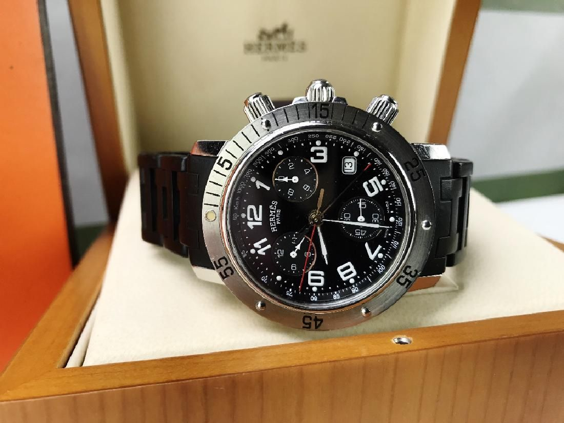 Hermes` Clipper Chronograph Divers Watch CL2.915,RRP
