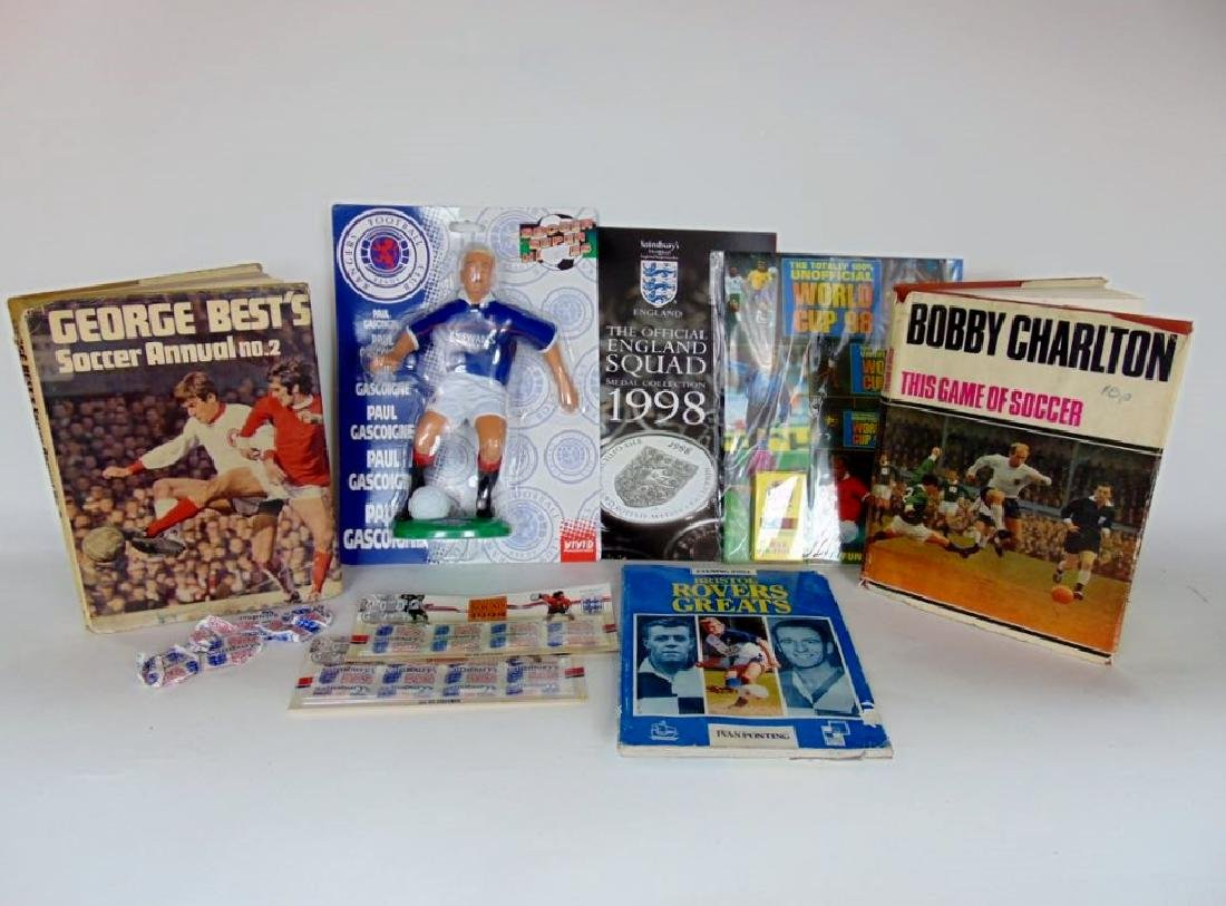 Collection of Soccer manuals, Gazza figurine, George