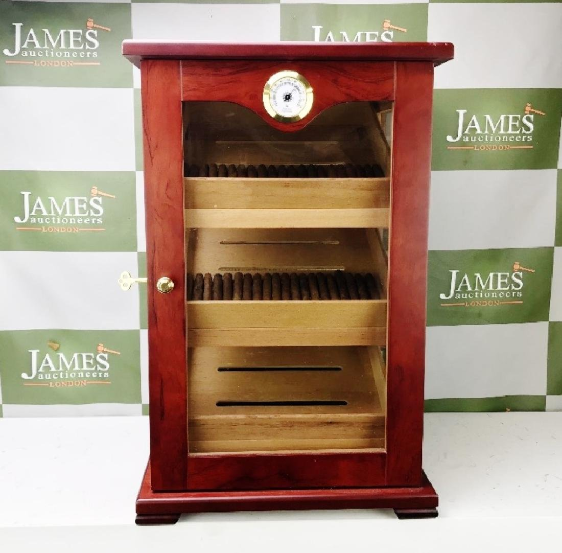 Large Rose Wood Cigar Humidor Cabinet & Cigars