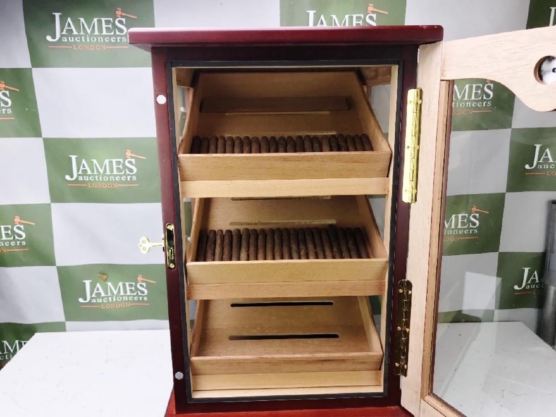 Large Rose Wood Cigar Humidor Cabinet & Cigars - 3