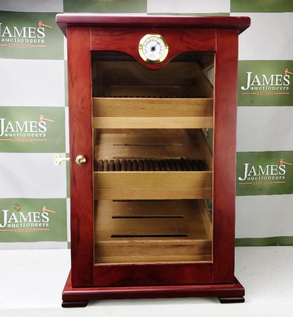 Large Rose Wood Cigar Humidor Cabinet & Cigars - 4