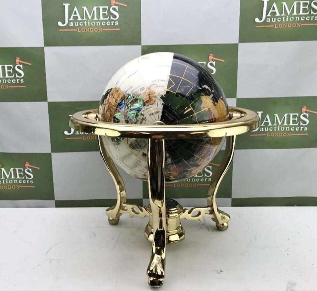 "Rare ""Black & White"" Precious Gemstone Globe With"