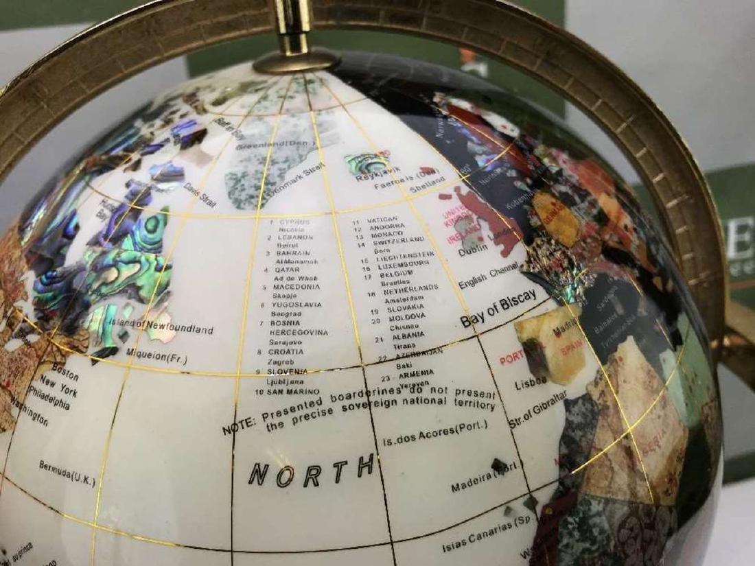 "Rare ""Black & White"" Precious Gemstone Globe With - 4"