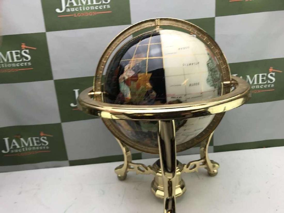 "Rare ""Black & White"" Precious Gemstone Globe With - 5"
