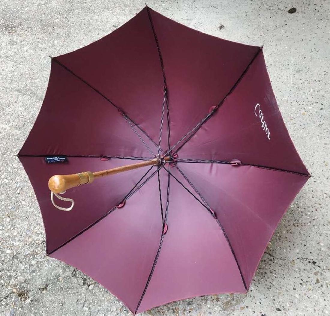 Cartier-Vintage Burgundy Umbrella - 3