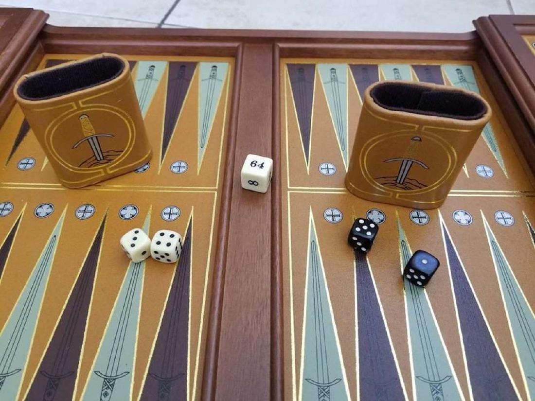 Franklin Mint Excalibur Backgammon Gold & Silver Set - 2