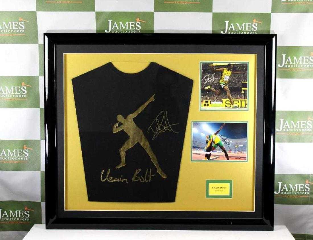 Olympic Superstar Usain Bolt Signed Puma Jersey Montage 6e0960a9a