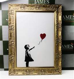 Banksy-Girl With Red Balloon, Ornate Framed