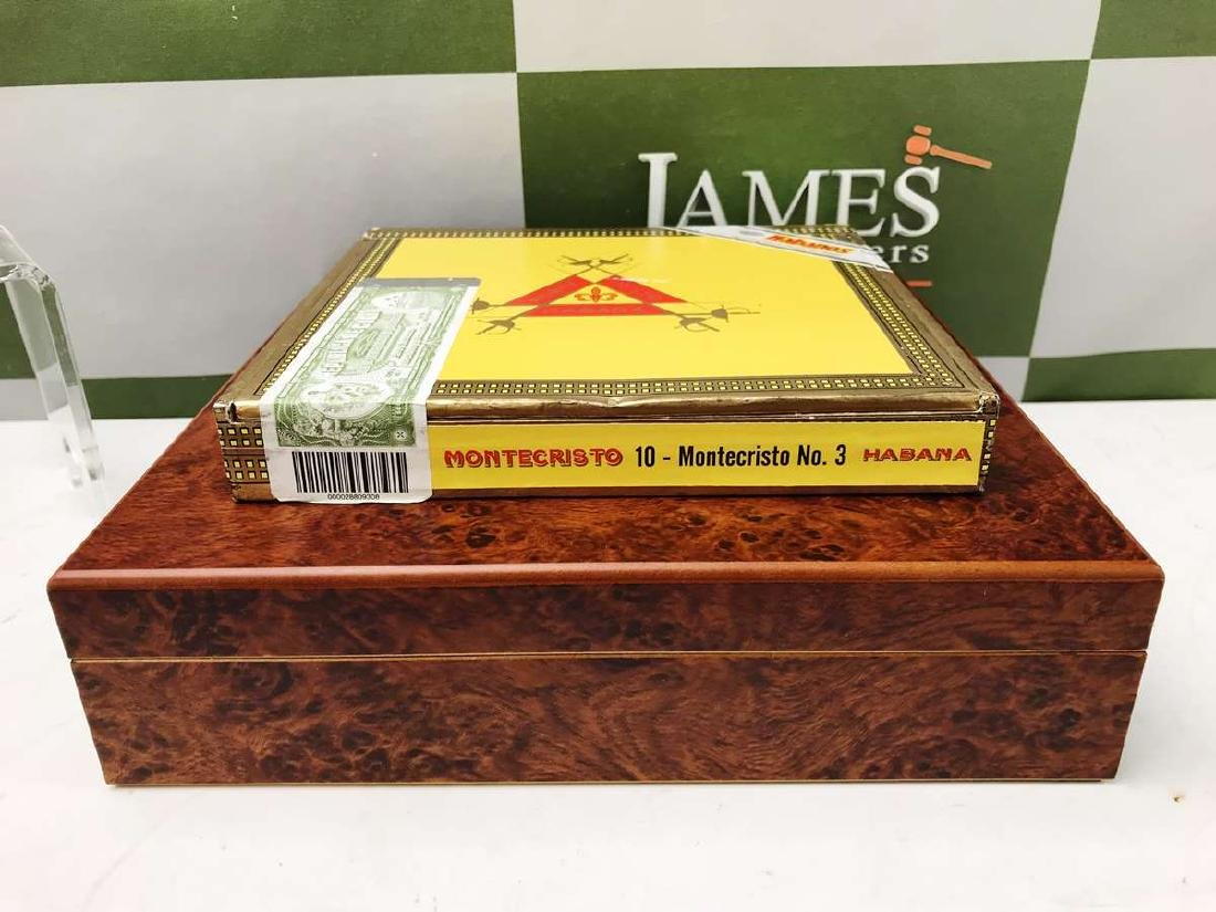 Montecristo #3 Cigars Sealed With A Burr Wood Humidor