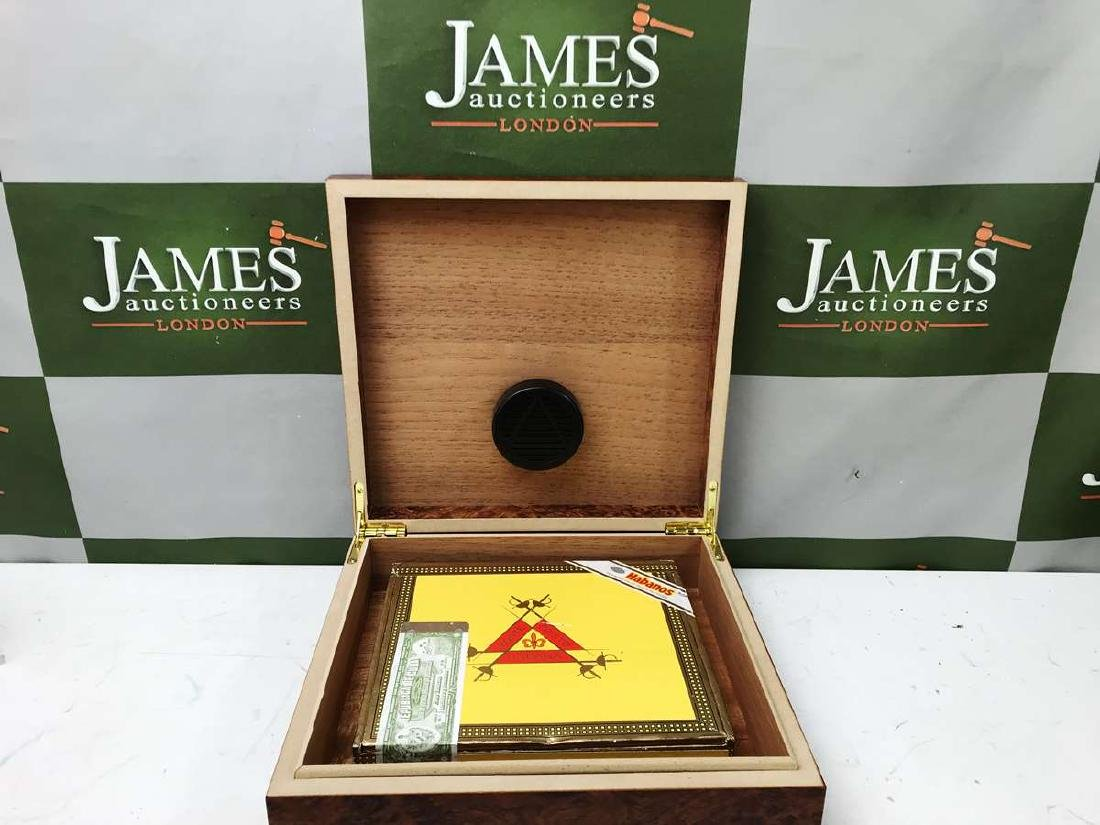 Montecristo #3 Cigars Sealed With A Burr Wood Humidor - 2