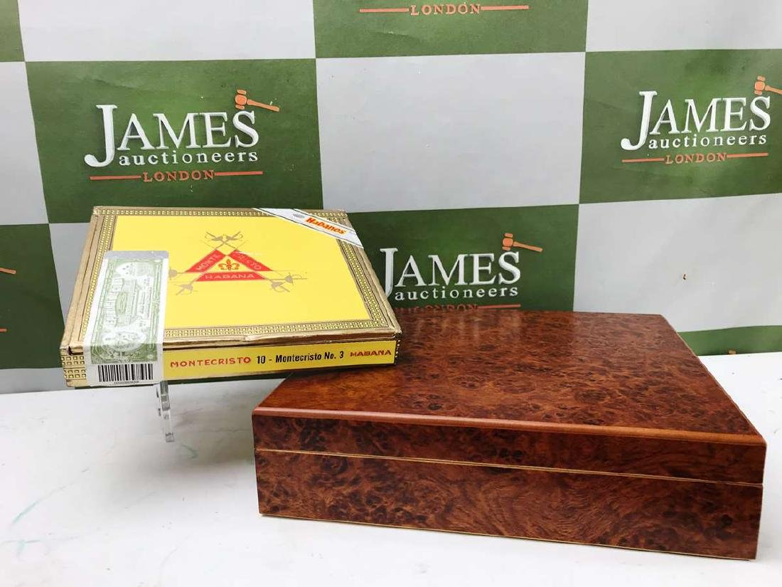 Montecristo #3 Cigars Sealed With A Burr Wood Humidor - 3